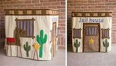 Cowboy jail table cover playhouse - would work under Little Prince's cabin bed :-)
