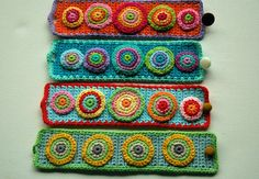 Crochet Cuff Bracelet no4 by AnnieDesign on Etsy, ** this is sort of what I want to do on that belt I'm making