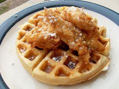 Honey-dipped fried chicken and buttermilk waffles. G. Garvin.