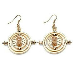 Golden Metal Harry Potter Time Turner Necklace Hermione Granger Rotating Hourglass Pendant Earrings for Women and Girls