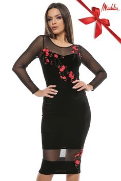 Rochie midi cu aplicatii din broderie florala | Madelia Fashion - Magazin online haine și rochii de damă