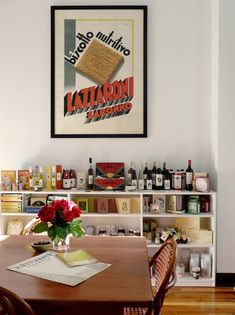 louise fili via design sponge A Little Market, Louise Fili, Living Vintage, Sign Maker, Business Signs, Home Signs, Design Firms, Dining Area, Custom Homes