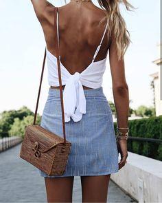 Tie back top + mini skirt.