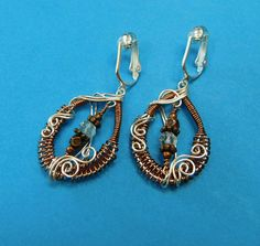 Gemstone Jewelry Gift for Wife, Woven Copper Wire Earrings, Woven Copper Wire and Aquamarine Clip-on Earrings