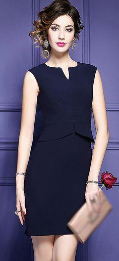 Fashion V-Neck Sleeveless Bodycon Dress