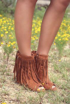 Desert Fringe Rust Zip Up Peep Toe Wedge Ankle Boot With Fringe ...
