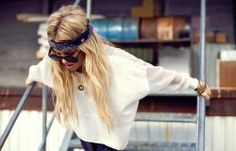 long blonde hair, bandana