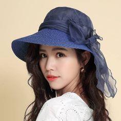 Large bow silk sun hat for women summer UV straw sun hats beach wear