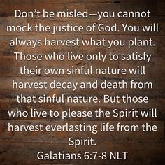 Galatians Don't be misled—you cannot mock the justice of God. Those who live only to satisfy their own sinful nature will harvest decay and death from that sinful nature. Scripture Verses, Bible Verses Quotes, Bible Scriptures, Faith Quotes, Biblical Verses, In God We Trust, Faith In God, Prayer Quotes, Spiritual Quotes