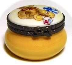 Artist Signed French Limoges France Bear Ball Trinket Pill Box Peint Main Limoge