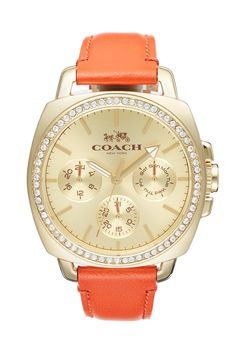 Crushing on this coral Coach 'Boyfriend' crystal bezel leather strap watch.