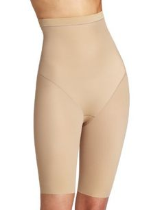 7bbf05c6eb6f Flexees by Maidenform Women's Instant Hi Waist Thigh Slimmer, Beige, Medium  Microencapsulated yarn technology allows for permanent slimming benefits  Raw cut ...