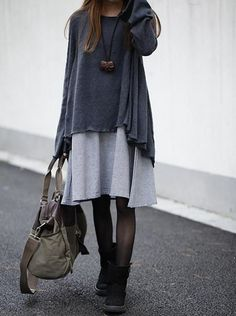 Dark gray sweater dress cotton dress Knitwear large knitted sweater casual loose sweater long sweater coat plus size sweater cotton blouse