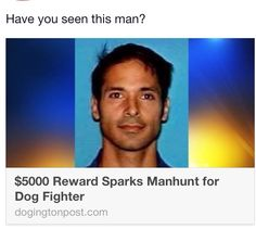 Wanted in connection with DOG FIGHTING - Alfred Ramirez a known dog fighter. $5000 reward for information leading to his arrest.Pin pin and re pin please , someone will recognize him. http://dogingtonpost.com/5000-reward-sparks-manhunt-for-dog-fighter/#.UkWOpz_OK-c
