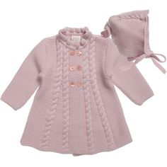 """Paz Rodriguez Baby Girls Pink Pram Coat and Bonnet 