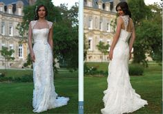 Designer Strapless Sheath / Column Applique Beading Lace Satin Court Train Wedding Attire