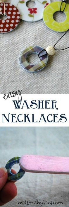 DIY Washer Necklace Tutorial- these make great gifts! DIY Washer Necklace Tutorial- these make great gifts! Washer Necklace Tutorial, Diy Necklace, Necklace Holder, Necklace Ideas, Collar Necklace, Necklace Designs, Gold Necklace, Homemade Jewelry, Diy Jewelry Making