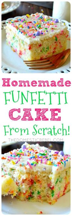 This Homemade Funfetti Cake from scratch is so delicious! Moist, soft, fluffy with a tender crumb, this homemade vanilla cake is studded with sprinkles and topped with a creamy buttercream frosting! G (Homemade Cake From Scratch) Homemade Vanilla Cake, Homemade Chocolate, Homemade Cakes, Chocolate Recipes, Funfetti Kuchen, Funfetti Cake, Cupcake Recipes From Scratch, Recipe From Scratch, Köstliche Desserts