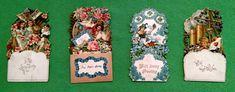 Lot of 4 Vintage Antique 1900's Greeting Cards Pop up Fold