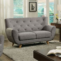Shop for Carin Midcentury Modern Love Seat, Light Gray. Get free delivery On EVERYTHING* Overstock - Your Online Furniture Store! Mid Century Sofa Bed, Mid Century Modern Loveseat, Mid Century Furniture, Recycled Furniture, Modern Furniture, Home Furniture, Furniture Ideas, Grey Loveseat, Online Furniture Stores