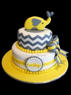 Baby Shower Elephant And Bow Cake on Cake Central