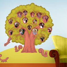 Acorn Family Tree Wall Sticker Decal with Squirrels on Etsy, $89.99 Great idea for our toddler nursery!