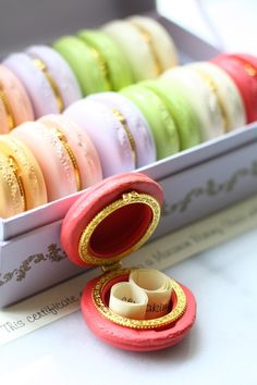 macaron ring boxes.  An acceptable alternative to the Tiffany's box