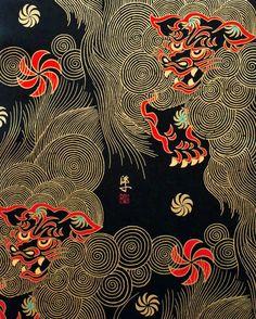 Golden Shishi Black Oriental Cotton Fabric by Alexander Henry