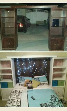 Repurposed entertainment center to bed with storage. Teen/tween room. Every kid needs tons of storage! Teen girls room orginazation. Fabric in bookshelf. Bedroom twinkle lights. Teal, green and coral.