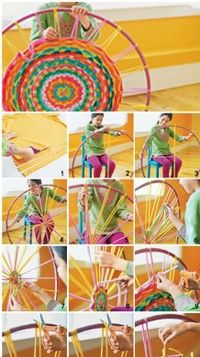 """hula hoop woven carpets ~ T-shirt cut into strips"" I've seen this a few times now, and although I probably won't DO it....it's interesting."