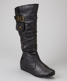 Take a look at this Black Pocket  Wedge Boot by Carrini on #zulily today!