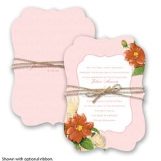 Floral Wedding Invitation - Coral Reef - Die-cut Crest, Antique at Invitations By David's Bridal