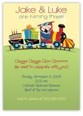 Birthday Train Twin Boys Birthday Invitation - A cheerful, whimsical birthday train accents this cute invitation.  Custom Twins Birthday Invitations from the leader in Twins & Multiples stationery products - www.amyscardcreations.com - Cards as low as $1.15 - Thank you for shopping with me and supporting small business!