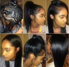 Versatile sew-in braid pattern