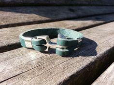 Unisex women men green leather bracelet / silver by VavienStore, $7.00
