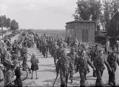 May 1945. German troops marching near Amsterdam after capitulation. #amsterdam #worldwar2