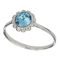 Miss Selfridge Sterling Silver Crystal Ring ($11) ❤ liked on Polyvore featuring jewelry, rings, sterling silver jewelry, crystal stone rings, blue crystal jewelry, flower jewelry and crystal jewelry