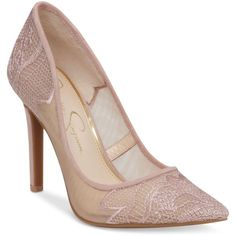 Jessica Simpson Camba Lace Pointed-Toe Pumps (120 CAD) ❤ liked on Polyvore featuring shoes, pumps, nude blush embroidered mesh, pointy toe pumps, nude pumps, pointed toe pumps, jessica simpson pumps and nude shoes