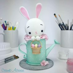 Cute Easter Bunny Cake Topper - fondant, gum paste, clay, inspiration, idea, watering can, rabbit, kawaii