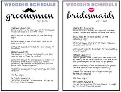 DIY wedding schedules for your wedding party and family