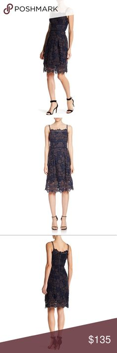 Elie Tahari midi Aimee dress NWT!! Bought this for an event and never wore it. Beautiful crochet lace overlay. Brand new never been worn! Elie Tahari Dresses Midi