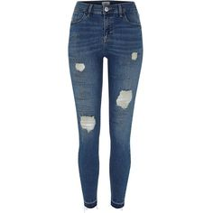 Dark blue wash denim Super skinny fit Distressed detailing Stud embellishment Released hems Belt loops Five pockets Button and zip fly fastening Our model wears a UK 8 and is tall Super Skinny Ripped Jeans, Dark Blue Skinny Jeans, Ripped Denim, Skinny Fit, Distressed Denim Jeans, Blue Denim Jeans, Blue Trousers, Jeans Pants, Fashion Souls