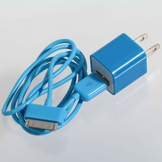 Cheap Mini 2 in 1 Charger Kit US Standard USB Power Adapter + USB Cable for iPhone 4/4S/3GS/3G Blue (BLUE) | Everbuying.com