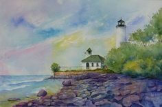 """""""Lighthouse at Tibbetts Point"""" Watercolor"""