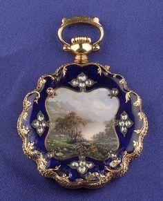 Antique 18kt Gold, Enamel and Diamond Open Face Watch, Golay Leresche & Fils, Geneve