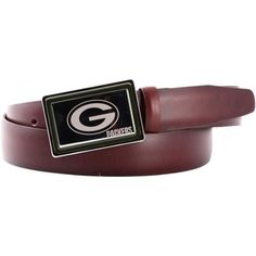 Green Bay Packers Engraved Buckle Leather Belt - Brown