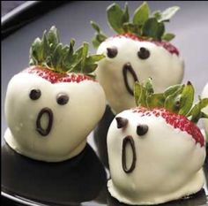 Ghosts! Could use velata white chocolate to dip the strawberries! www.kellybryson.velata.us