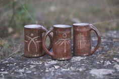 """Raku mugs of the series """"Fragments of antiquity"""". Raku roasting. $14.00 Кружки из серии """"Осколки древности. Восстановительный обжиг раку. Раку керамика."""