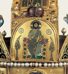 The Holy Crown of Hungary (detail), presumed made in Constantinople in the 1070s, was the coronation crown used by the Kingdom of Hungary for most of its existence; kings have been crowned with it since the twelfth century. The Crown was bound to the Lands of the Crown of Saint Stephen. No king of Hungary was regarded as having been truly legitimate without being crowned with it. In the history of Hungary, more than fifty kings were crowned with it, up to the last, Charles IV, in 1916.