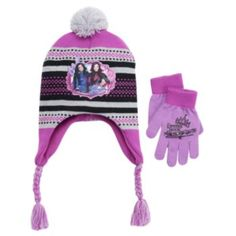 5975ee5ac65 Disney s Descendants Mal Girls 4-16 Pom-Pom Earflap Hat   Gloves Set